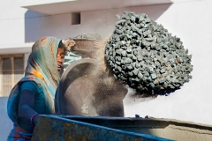 2 Throwing Aggregate in Cement Mixer